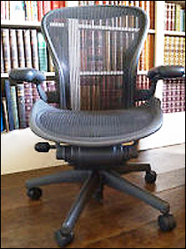 Aeron chair in front of bookshelves