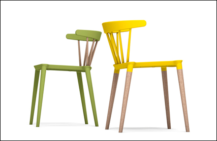 Saloon plastic chairs in green and yellow