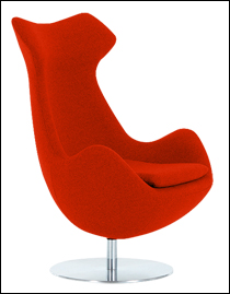 Steijer lounge chair in orange fabric