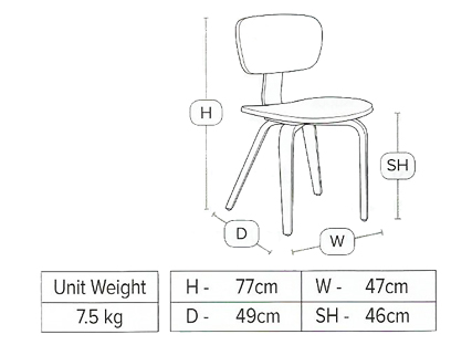 Zap dining chair dimensions