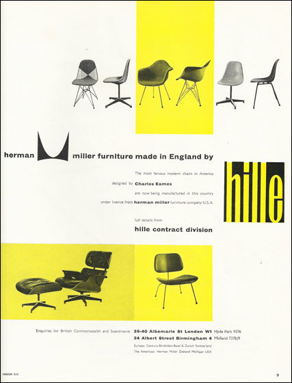 Hille advertising their Charles and Ray Eames chairs