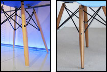 Comparison of wooden legs and feet of plastic chairs