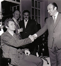 Chess grand master Boris Spassky receiving his Eames Lobby chair from Fred Appleton in 1972