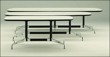 Segmented tables with white laminate top