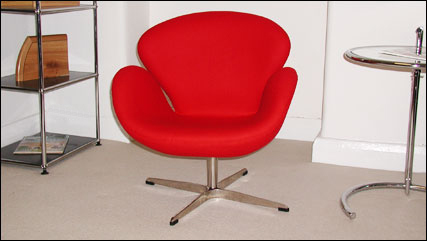 Chinese swan chair in red cashmere