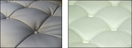 Studio sofa cushions in black and in white