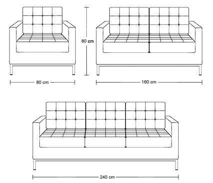 Dimensions of one seater, two seater and three seater Studio sofas