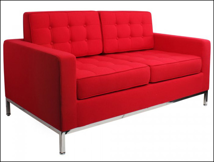 Studio two seater sofa in red fabric