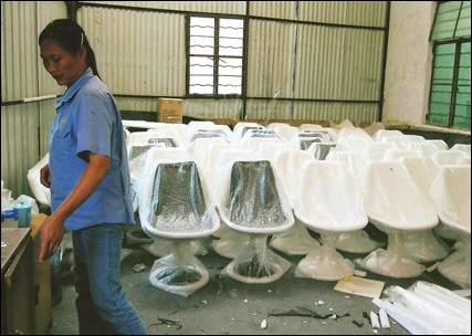 Trumpet chairs in factory