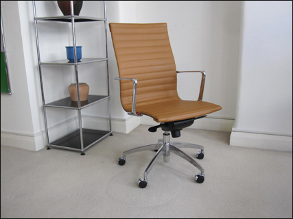 Aero-Deck high back ribbed desk chair in tan