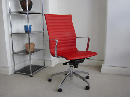 Aero-Deck high back ribbed desk chair in red
