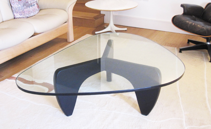 Manx coffee table with glass top and black birch wood base