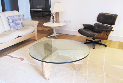 Manx coffee table with circular glass top