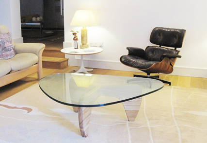 Manx coffee table with glass top and light oak base