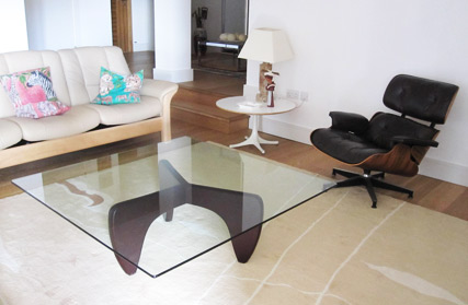 Manx coffee table with alternative square glass top