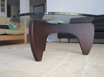 Solid wood base of Manx coffee table