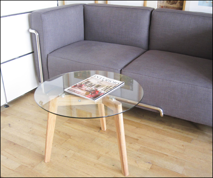 Tripod round glass coffee table