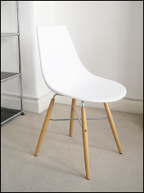 Crossbar chair in white plastic
