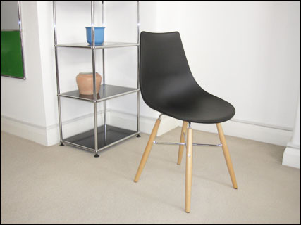 Crossbar plastic dining chair in black