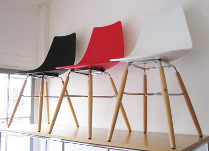 Crossbar chairs in white red and black