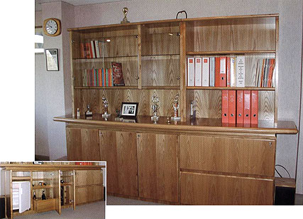 Blenheim storage units, including trophy display, drinks cabinets, filing drawers and shelving