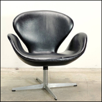 Fritz Hansen Swan chair by Arne Jacobsen in black leather