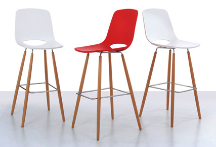 Ooland bar stools in red and white