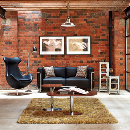 Broolyn two seater sofa in black leather