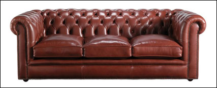 Three seater brown leather Chesterfield sofa