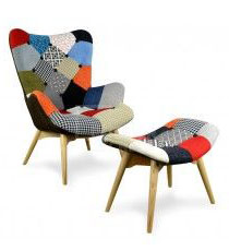 High butterfly chair with footstool