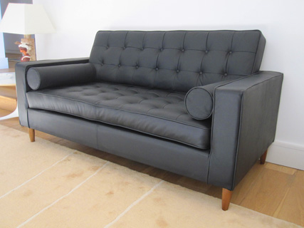 Home Sofa in black leather