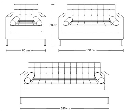 Dimensions of one seater, two seater and three seater Home Living sofas