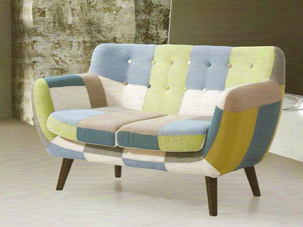Wings two seater sofa in blue green and white patchwork