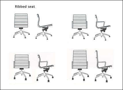 Diagrams of Tina chair with ribbed seat